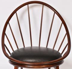 Ib Kofod Larsen Ib Kofod Larsen for Selig Dark Walnut Black Leather Hoop Chair circa 1960 - 1603514