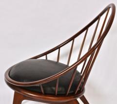 Ib Kofod Larsen Ib Kofod Larsen for Selig Dark Walnut Black Leather Hoop Chair circa 1960 - 1603517