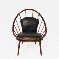 Ib Kofod Larsen Ib Kofod Larsen for Selig Dark Walnut Black Leather Hoop Chair circa 1960 - 1605279