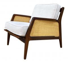 Ib Kofod Larsen Mid Century Danish Modern Lounge Chair by IB Kofod Larsen in Walnut Rafia - 2058976