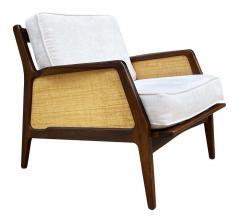 Ib Kofod Larsen Mid Century Danish Modern Lounge Chair by IB Kofod Larsen in Walnut Rafia - 2058978