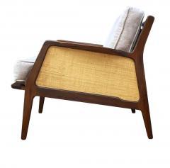 Ib Kofod Larsen Mid Century Danish Modern Lounge Chair by IB Kofod Larsen in Walnut Rafia - 2058980