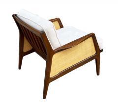 Ib Kofod Larsen Mid Century Danish Modern Lounge Chair by IB Kofod Larsen in Walnut Rafia - 2058989