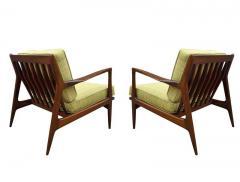 Ib Kofod Larsen Pair of Mid Century Danish Modern IB Kofod Larsen Lounge Chairs in Walnut - 2059042