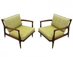Ib Kofod Larsen Pair of Mid Century Danish Modern IB Kofod Larsen Lounge Chairs in Walnut - 2059050