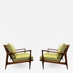 Ib Kofod Larsen Pair of Mid Century Danish Modern IB Kofod Larsen Lounge Chairs in Walnut - 2064758