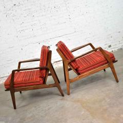 Ib Kofod Larsen Scandinavian modern ib kofod larsen lounge chairs for selig in red stripe fabric - 1639706