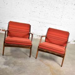 Ib Kofod Larsen Scandinavian modern ib kofod larsen lounge chairs for selig in red stripe fabric - 1639710