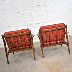 Ib Kofod Larsen Scandinavian modern ib kofod larsen lounge chairs for selig in red stripe fabric - 1639730