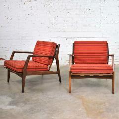 Ib Kofod Larsen Scandinavian modern ib kofod larsen lounge chairs for selig in red stripe fabric - 1639736