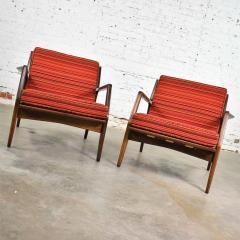Ib Kofod Larsen Scandinavian modern ib kofod larsen lounge chairs for selig in red stripe fabric - 1639744