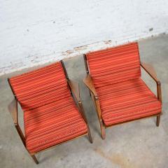 Ib Kofod Larsen Scandinavian modern ib kofod larsen lounge chairs for selig in red stripe fabric - 1639761