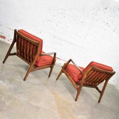 Ib Kofod Larsen Scandinavian modern ib kofod larsen lounge chairs for selig in red stripe fabric - 1639763