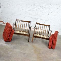 Ib Kofod Larsen Scandinavian modern ib kofod larsen lounge chairs for selig in red stripe fabric - 1639770
