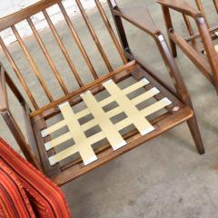 Ib Kofod Larsen Scandinavian modern ib kofod larsen lounge chairs for selig in red stripe fabric - 1639774