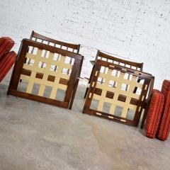 Ib Kofod Larsen Scandinavian modern ib kofod larsen lounge chairs for selig in red stripe fabric - 1639786