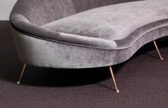 Ico Parisi Huge Italian Velvet Sofa in the Manner of Ico Parisi - 546679