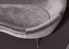 Ico Parisi Huge Italian Velvet Sofa in the Manner of Ico Parisi - 546681