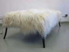 Ico Parisi Large Long Hair Italian Mid Century Modern Style Goatskin Bench Ico Parisi - 1787286