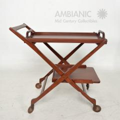 Ico Parisi Manner of Ico Parisi Modern Mahogany Wood Folding Service Cart Trolley Bar Italy - 1542702