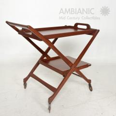 Ico Parisi Manner of Ico Parisi Modern Mahogany Wood Folding Service Cart Trolley Bar Italy - 1542703