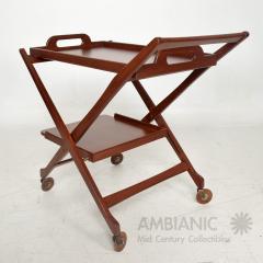 Ico Parisi Manner of Ico Parisi Modern Mahogany Wood Folding Service Cart Trolley Bar Italy - 1542704