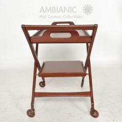 Ico Parisi Manner of Ico Parisi Modern Mahogany Wood Folding Service Cart Trolley Bar Italy - 1542705