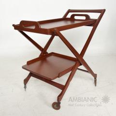 Ico Parisi Manner of Ico Parisi Modern Mahogany Wood Folding Service Cart Trolley Bar Italy - 1542707