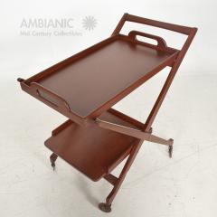 Ico Parisi Manner of Ico Parisi Modern Mahogany Wood Folding Service Cart Trolley Bar Italy - 1542708