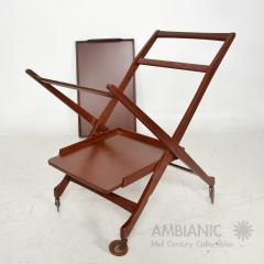 Ico Parisi Manner of Ico Parisi Modern Mahogany Wood Folding Service Cart Trolley Bar Italy - 1542709