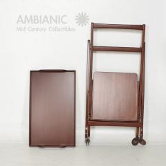 Ico Parisi Manner of Ico Parisi Modern Mahogany Wood Folding Service Cart Trolley Bar Italy - 1542710