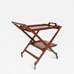 Ico Parisi Manner of Ico Parisi Modern Mahogany Wood Folding Service Cart Trolley Bar Italy - 1543599