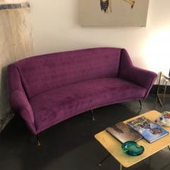Ico Parisi Mid Century Modern Purple Velvet and Brass Italian Curved Sofa circa 1950 - 963524