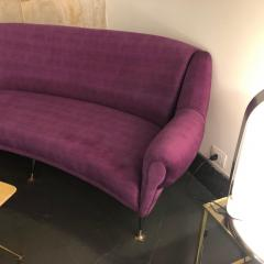 Ico Parisi Mid Century Modern Purple Velvet and Brass Italian Curved Sofa circa 1950 - 963529