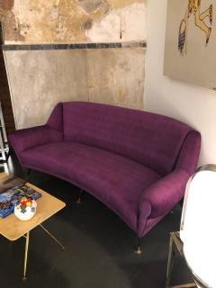 Ico Parisi Mid Century Modern Purple Velvet and Brass Italian Curved Sofa circa 1950 - 963532
