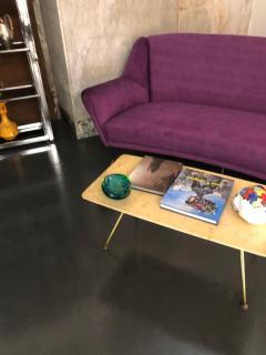 Ico Parisi Mid Century Modern Purple Velvet and Brass Italian Curved Sofa circa 1950 - 963534