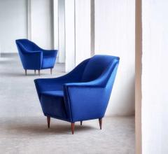Ico Parisi Pair of Ico Parisi Armchairs in Blue Mohair Velvet 1951 - 444552