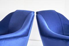 Ico Parisi Pair of Ico Parisi Armchairs in Blue Mohair Velvet 1951 - 1275758