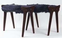 Ico Parisi Pair of Italian Mid Century stools in mahogany Ico Parisi - 1399113