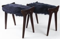Ico Parisi Pair of Italian Mid Century stools in mahogany Ico Parisi - 1399115