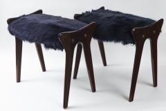 Ico Parisi Pair of Italian Mid Century stools in mahogany Ico Parisi - 1399116
