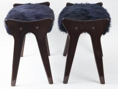 Ico Parisi Pair of Italian Mid Century stools in mahogany Ico Parisi - 1399117