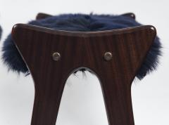 Ico Parisi Pair of Italian Mid Century stools in mahogany Ico Parisi - 1399125