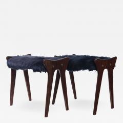Ico Parisi Pair of Italian Mid Century stools in mahogany Ico Parisi - 1400194