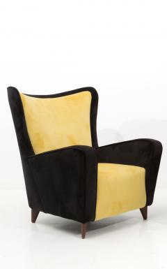Ico Parisi Pair of Italian amrchairs attributed to Ico Parisi in black and yellow Velvet - 1598093