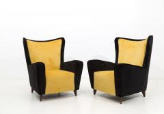 Ico Parisi Pair of Italian amrchairs attributed to Ico Parisi in black and yellow Velvet - 1598095