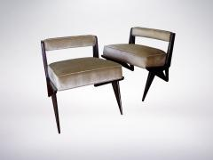 Ico Parisi Pair of Modernist Armchairs in Pale Green Velvet Attributed to Ico Parisi 1950 - 940530
