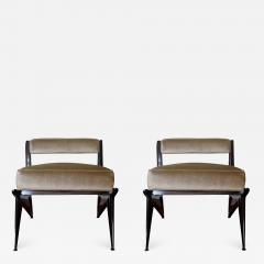 Ico Parisi Pair of Modernist Armchairs in Pale Green Velvet Attributed to Ico Parisi 1950 - 942309
