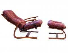 Igmar Relling Mid Century Westnofa Leather Reclining Lounge Chair and Ottoman Ingmar Relling - 1763803