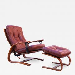 Igmar Relling Mid Century Westnofa Leather Reclining Lounge Chair and Ottoman Ingmar Relling - 1765645